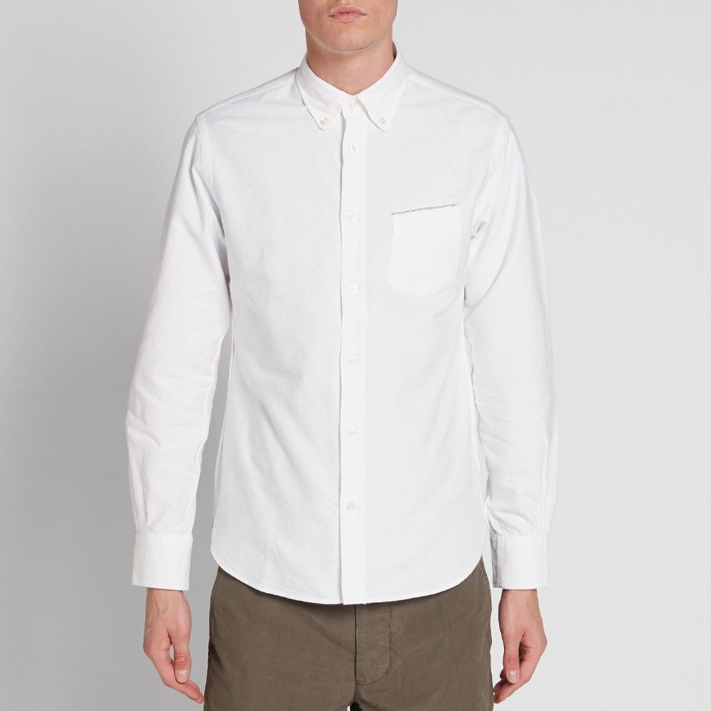 Officine Generale Button Down Japanese Selvedge Oxford Shirt (White)