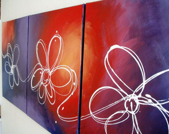 Ufficio Discount : Triptych flower wall art floral abstract original decorative home