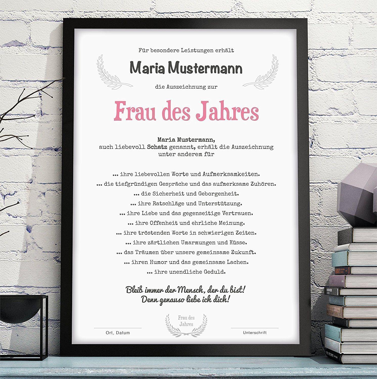 Frau Freundin Ehefrau Des Jahres Als Urkunde Auszeichnung Und