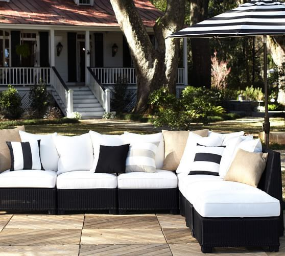 Build your own palmetto all weather wicker sectional components black pottery barn