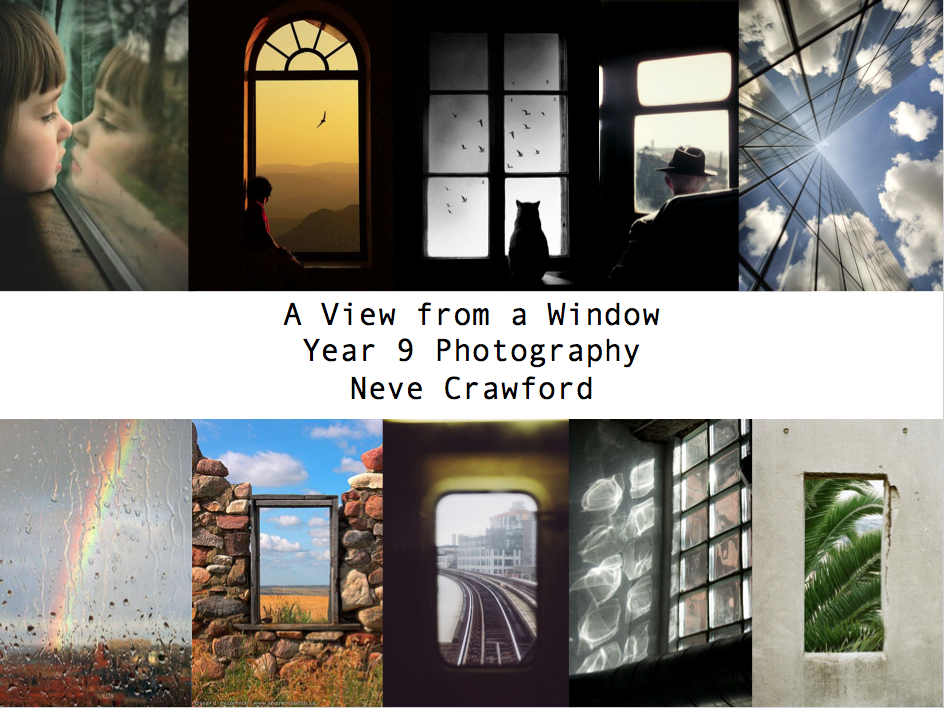 "My title page for 'A View from a Window""."