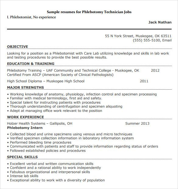phlebotomy resume sample entry level phlebotomist resumes samples - technician resume example