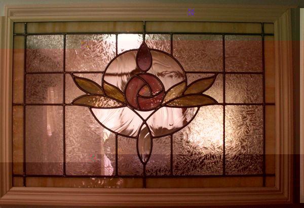 Edwardian Rose Stained Glass Window