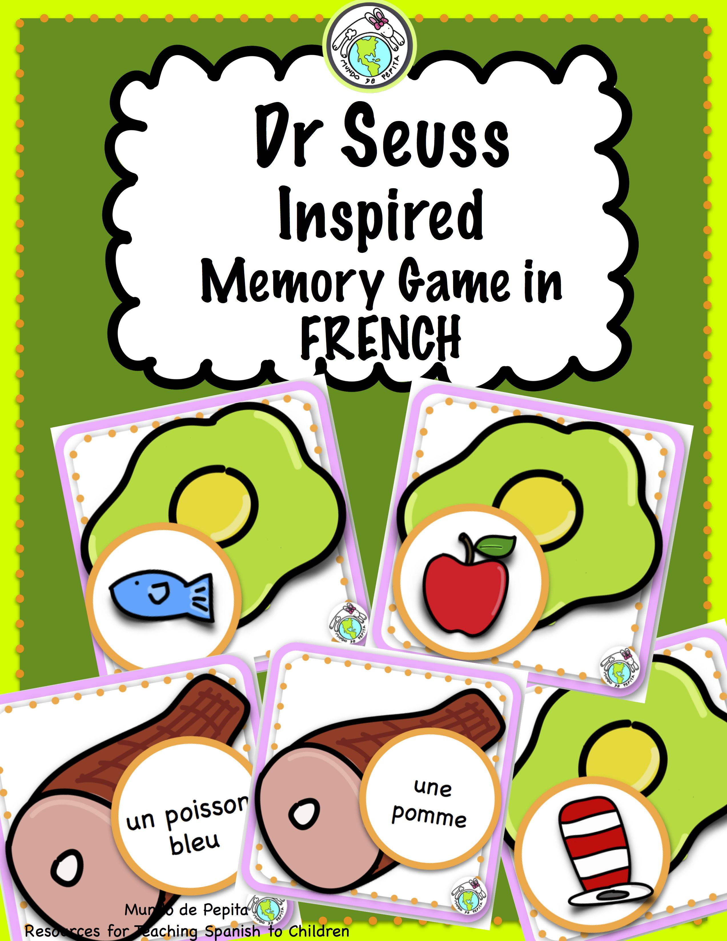 Dr Seuss Inspired Memory Game In French Practice Common
