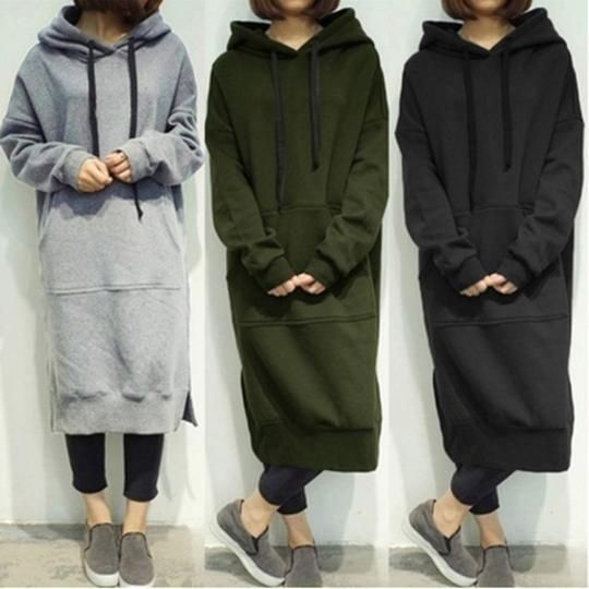 2017 Autumn Winter Casual Women Hooded Long Hoodies Plus