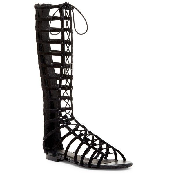 Joie Falicia Tall Gladiator Sandal ($230) ❤ liked on Polyvore featuring shoes, sandals, black, open toe sandals, greek sandals, lace up gladiator sandals, black shoes and suede sandals