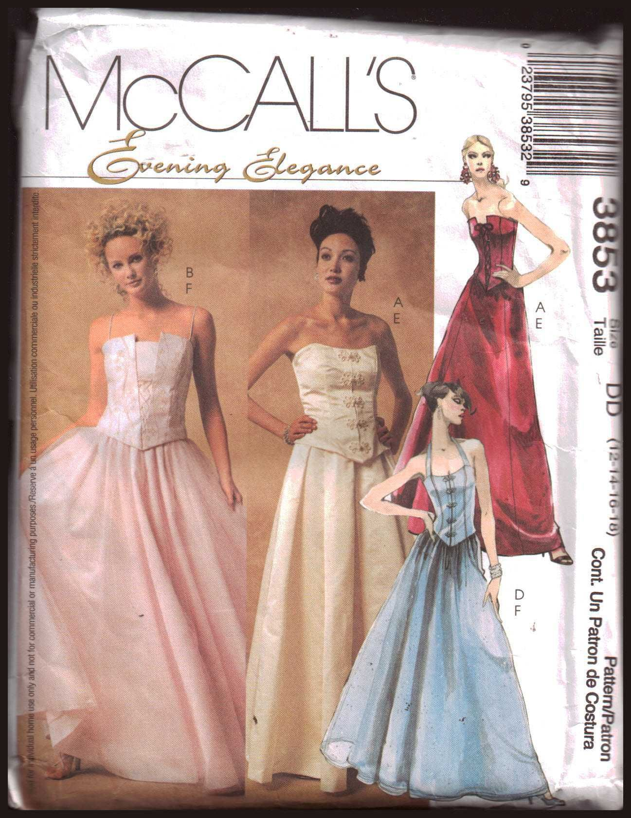 Mccall S 3853 Evening Dress Lined Tops Skirts Size Dd 12 14 16 18 Used Sewing Pattern Prom Dress Pattern Wedding Dress Patterns Formal Dress Patterns [ 1681 x 1297 Pixel ]