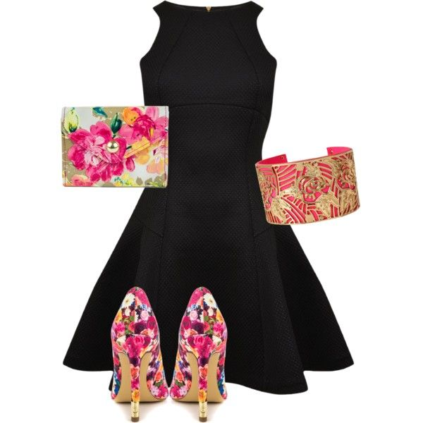 Flirty black dress by amelia-king on Polyvore featuring polyvore, fashion, style, Ted Baker, GUESS, Mundi and Betsey Johnson