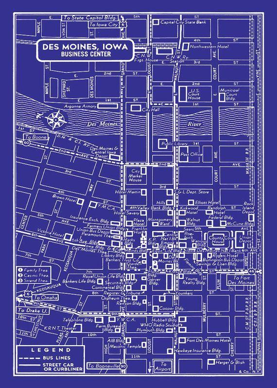 Des Moines - Vintage Map of Downtown Des Moines Blueprint Map Print ...