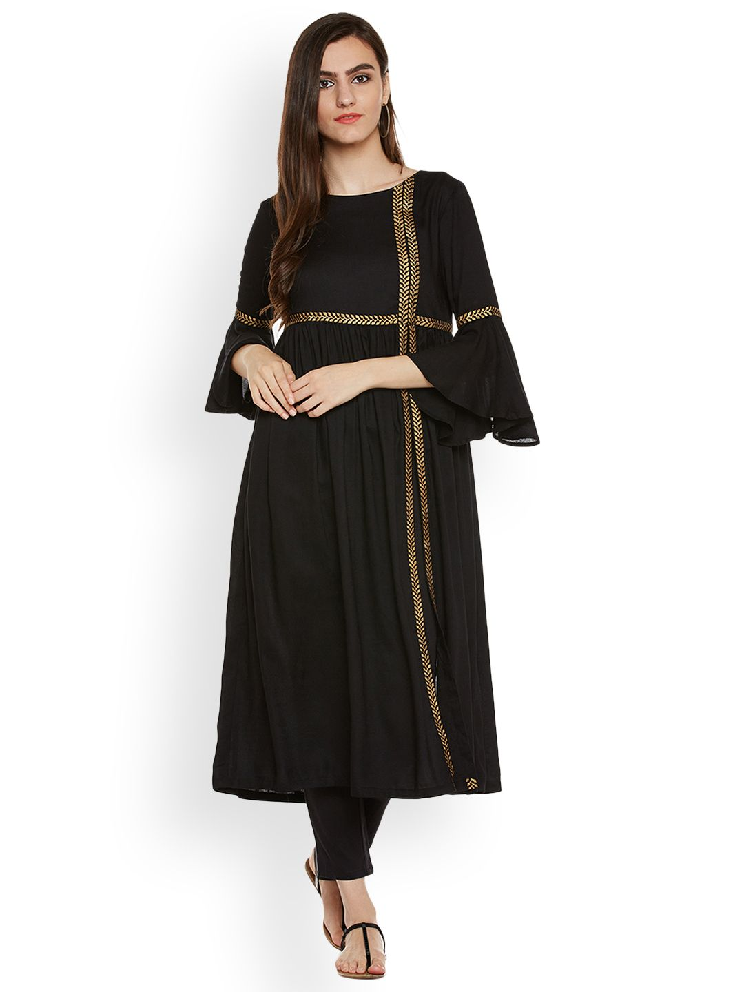 80dc54e151c 9rasa Black Solid A-Line Kurta #Black #Solid #ALine #Kurta | Latest ...