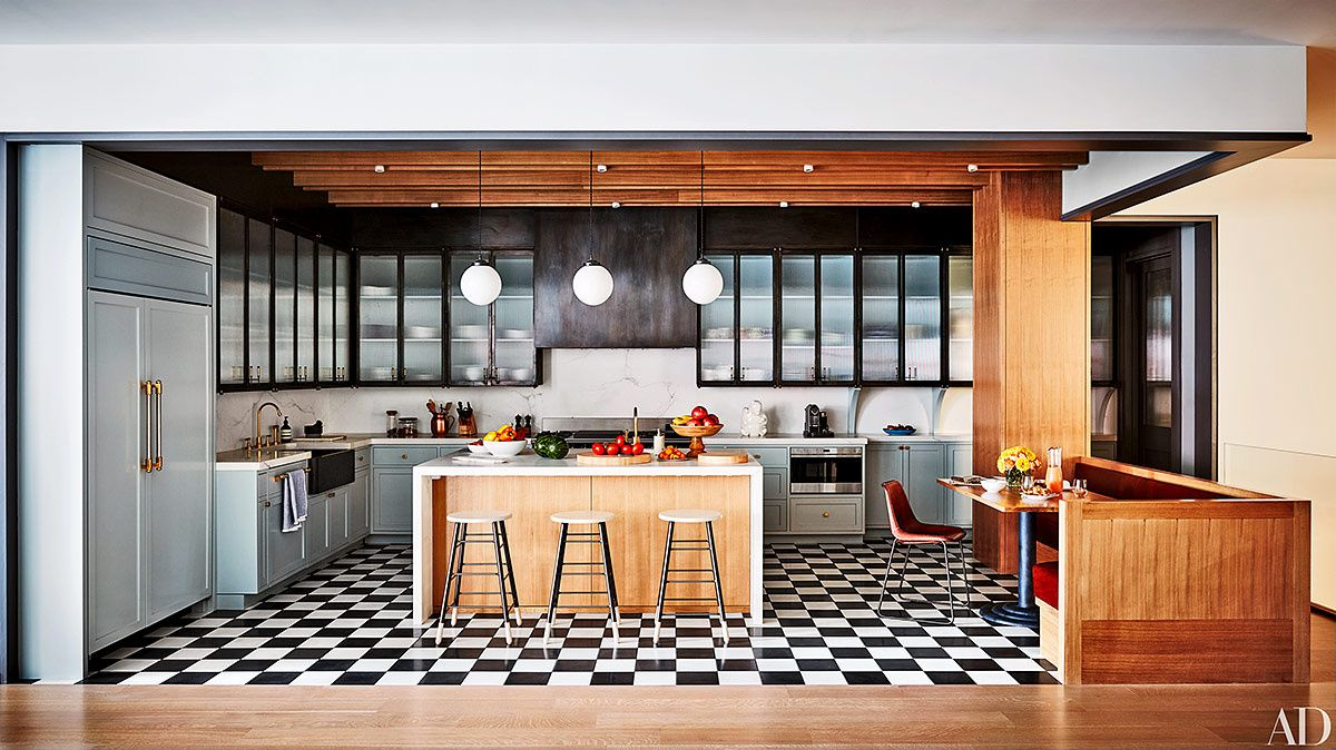 cocina+abierta+suelo+checkered+floor+blanco+negro+damero.jpg (1200 ...