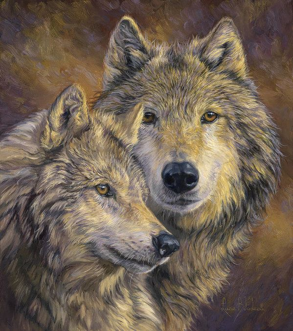 Wolf Print featuring the painting The Bond by Lucie Bilodeau