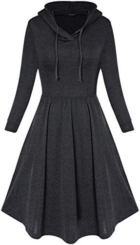 Best Seller ANGGREK Women Long Sleeve Hooded Pleated Swing Casual Dress Midi online - Chictrendyfashion