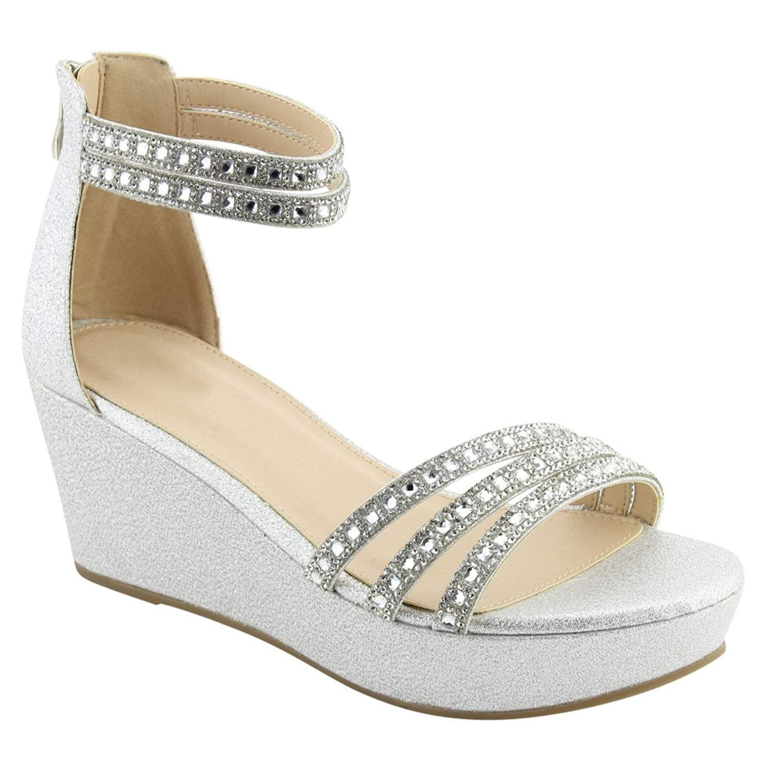 ace81814cc8 BESTON FQ91 Women s Glitter Ankle Strap Wrapped Heel Wedge Dress Sandal.  Spring into a new