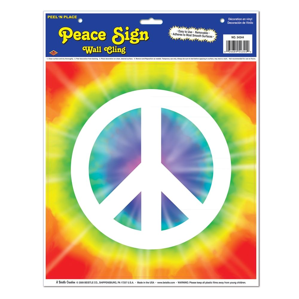 Peace Sign Peel N Place Pack Of 12 Peace Sign Wall Signs Large Wall Stickers