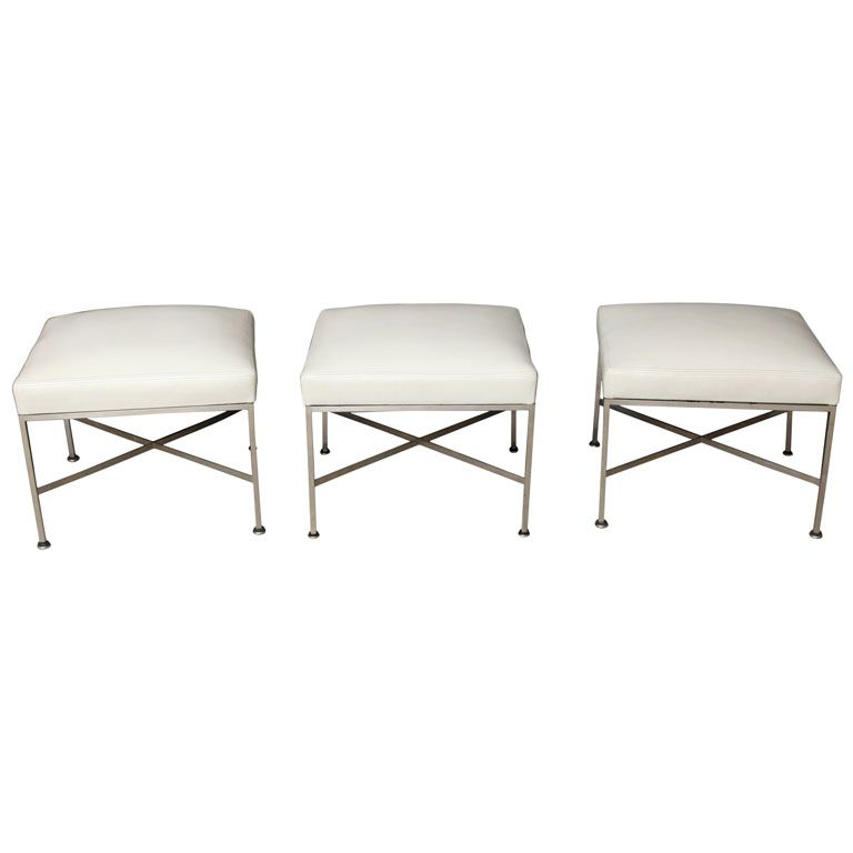 Brushed metal white leather stools by paul mccobb