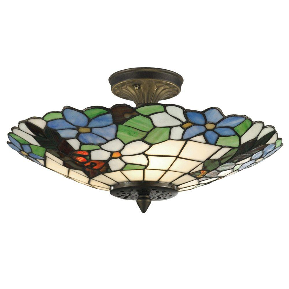 Dale Tiffany Pansy 3 Light Antique Brass Semi Flush Mount Light With Art Glass Shade 3660 3ltf The Home Depot Brass Semi Flush Mount Light Antique Brass Ceiling Light Semi Flush Mount Lighting