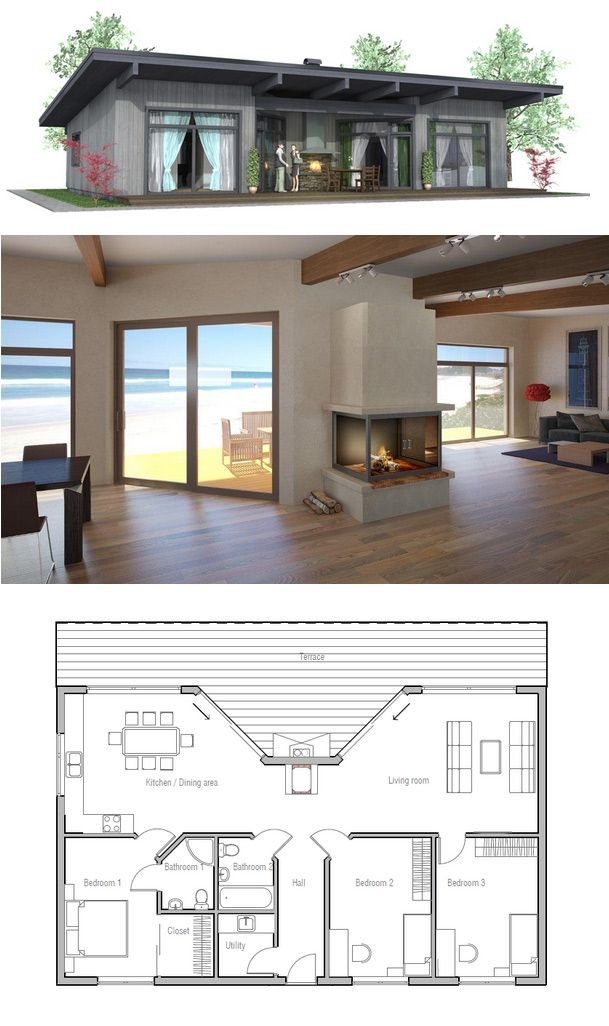 Affordable Home Ch61 Small Modern House Plans Beach House Plans House Plans