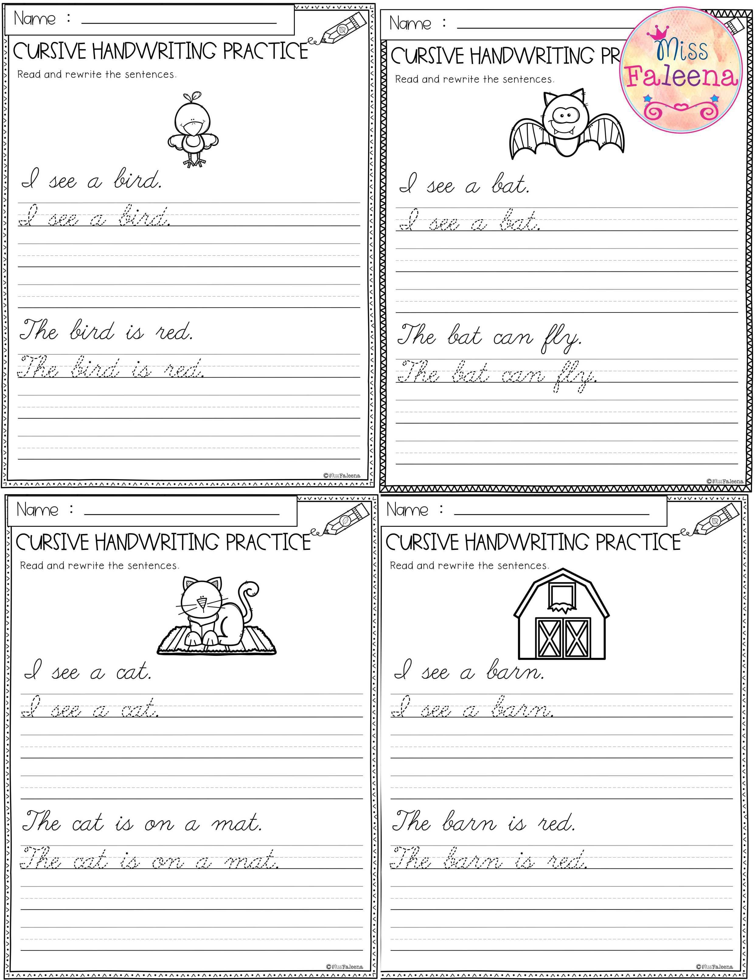 Free Cursive Handwriting This Product Has 5 Pages Of