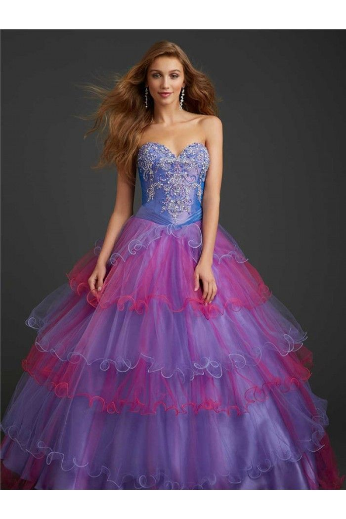 Ball Gown Strapless Sweetheart Lavender Fuchsia Colorful Tiered ...