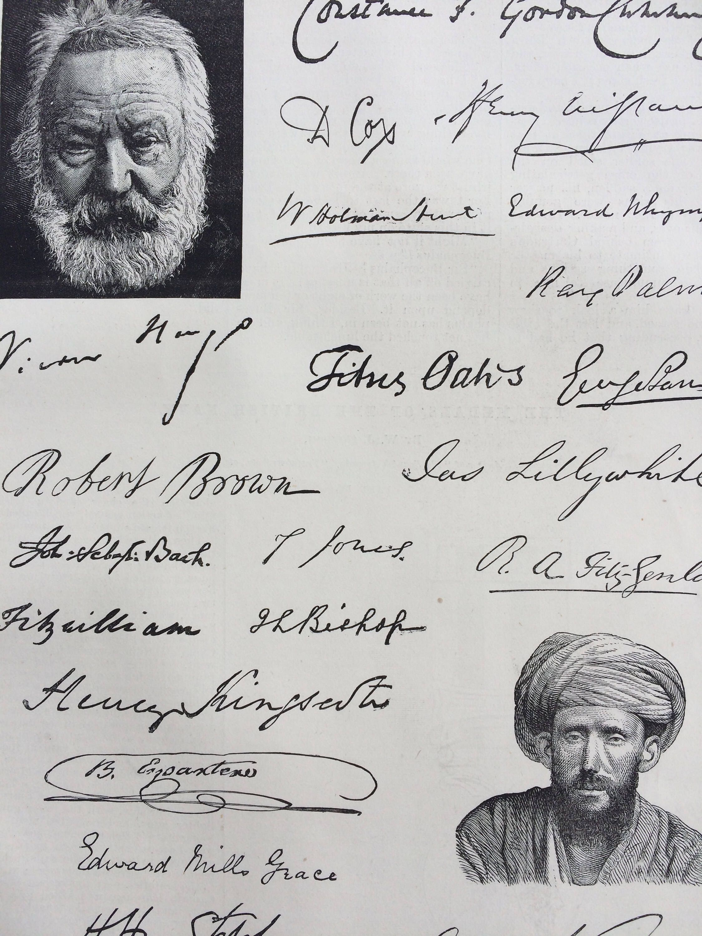 1889 Autographs Original Antique Engraving - Celebrities: Past & Present - matted and available framed - Victorian Decor #modernvictoriandecor