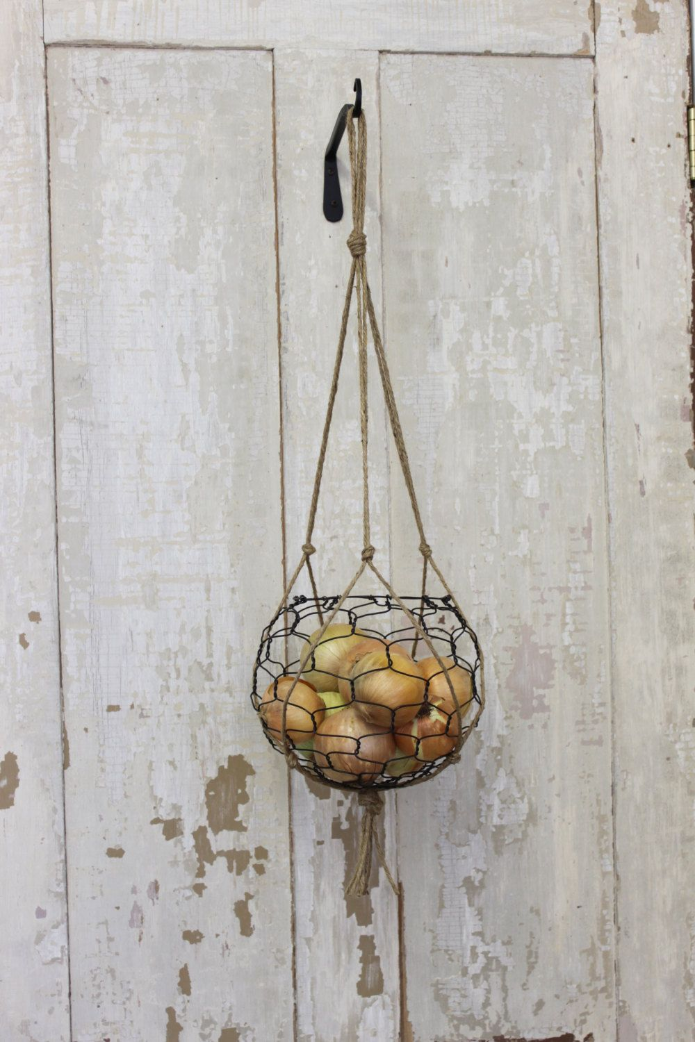 Hanging Wire Basket With Macrame Hanger | Hanging wire basket, Wire ...