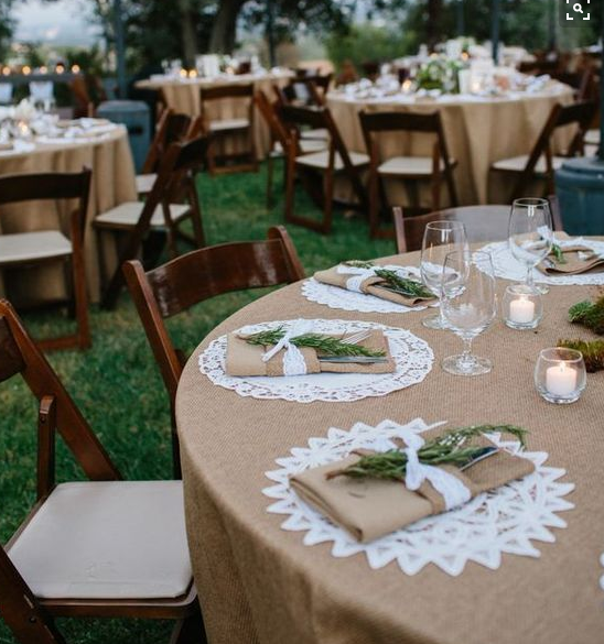 Burlap table cloths with  lace  place settings. Love this for a country or rustic wedding!I would use grey table cloths with the white place settings and ... & Pin by Thien An Phan on Wedding ideas | Pinterest | Wedding Barn ...