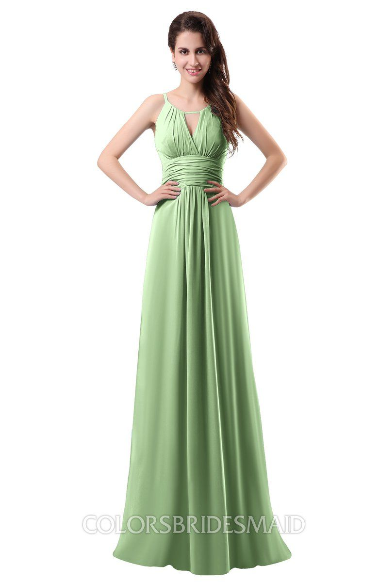 3548a0ab0f5 Simple Column Scoop Chiffon Ruching Bridesmaid Dresses at a discount price  on colorsbridesmaid.com. The Chiffon with Brush Train delicate Pleated make  it ...