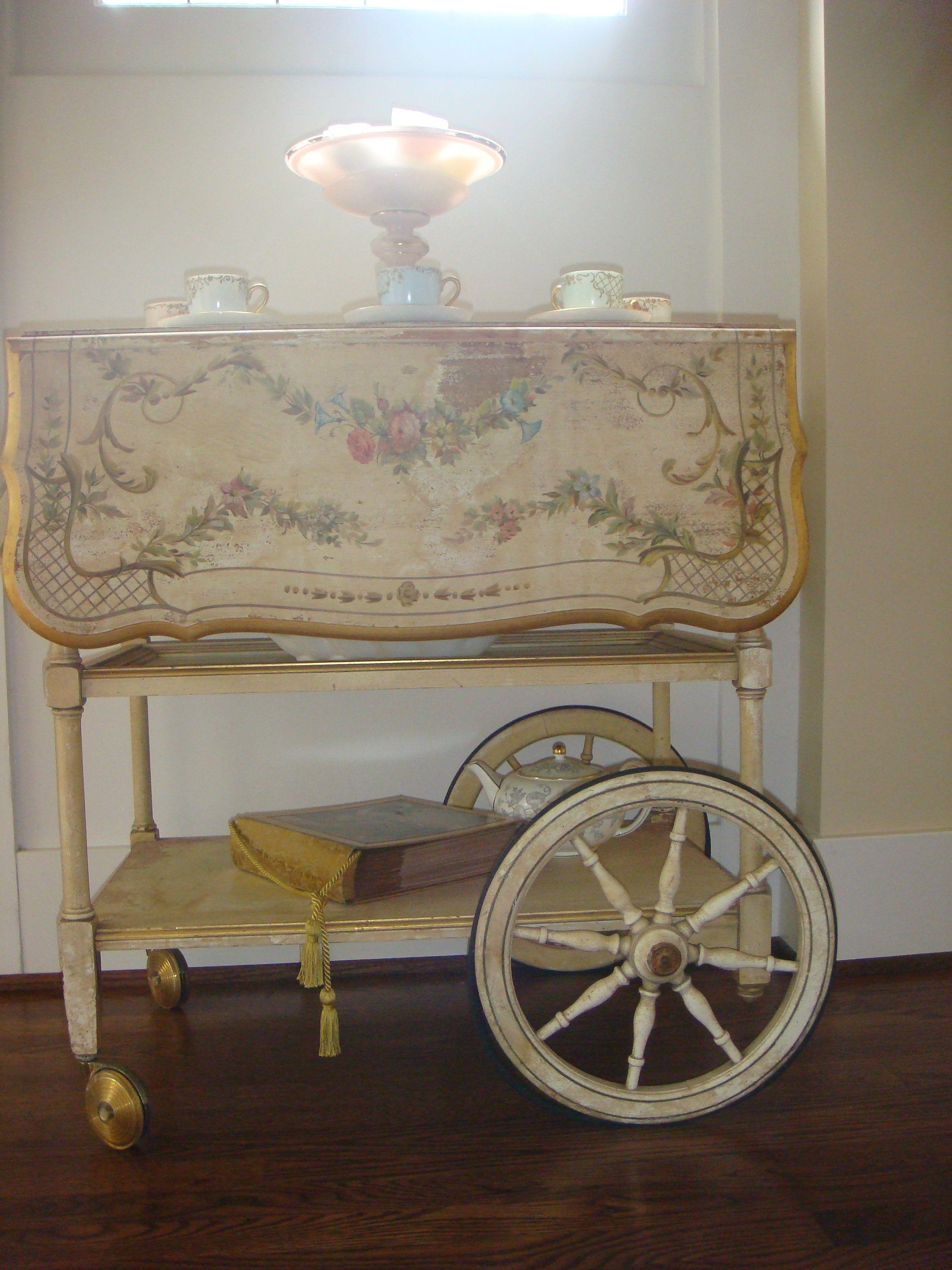 antique italian inlaid drop leaf rolling tea cart trolley cocktail