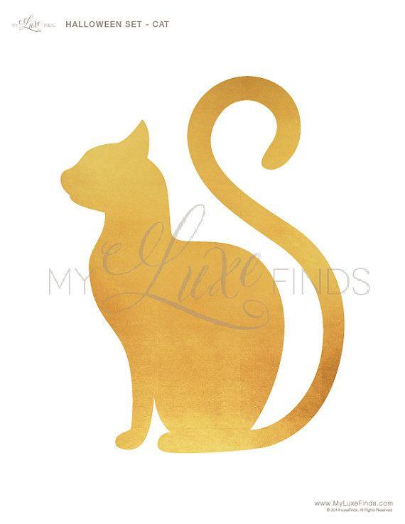 Halloween Cat Silhouette Printable | Gold | Pinterest | Ricarda ...