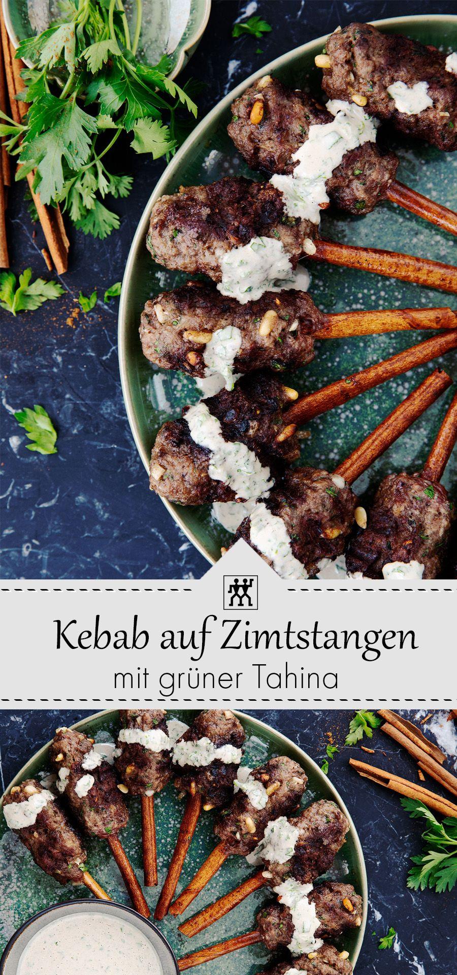 Fleischkebab Auf Zimtstangen Mit Gruner Tahina Dieses Orientalische Fleischkebab Ist Absolut Lecker Und Lasst Sich Beson Dinner
