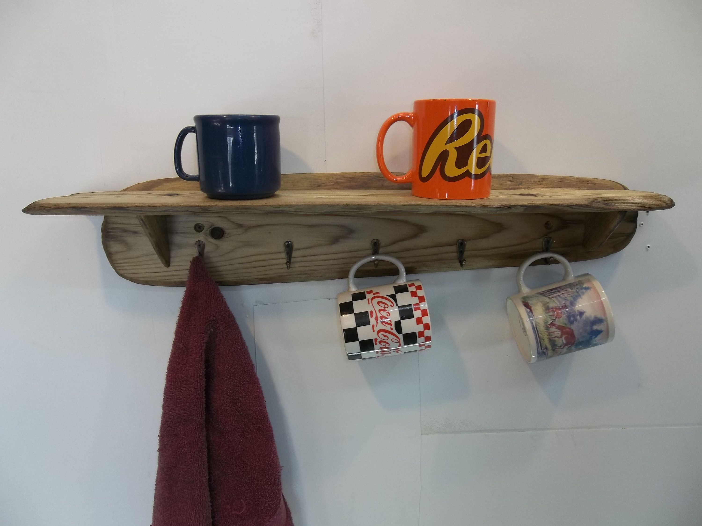 Driftwood Wall Shelf With Coat And Hat Hooks Bathroom Shelf With Towel Hooks Kitchen Shelf With Cup Hooks Rusti Shelves Room Shelves Boho Apartment Decor