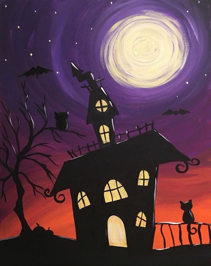 Acrylic Painting Tips And Tutorials Halloween Painting Halloween Canvas Paintings Halloween Canvas