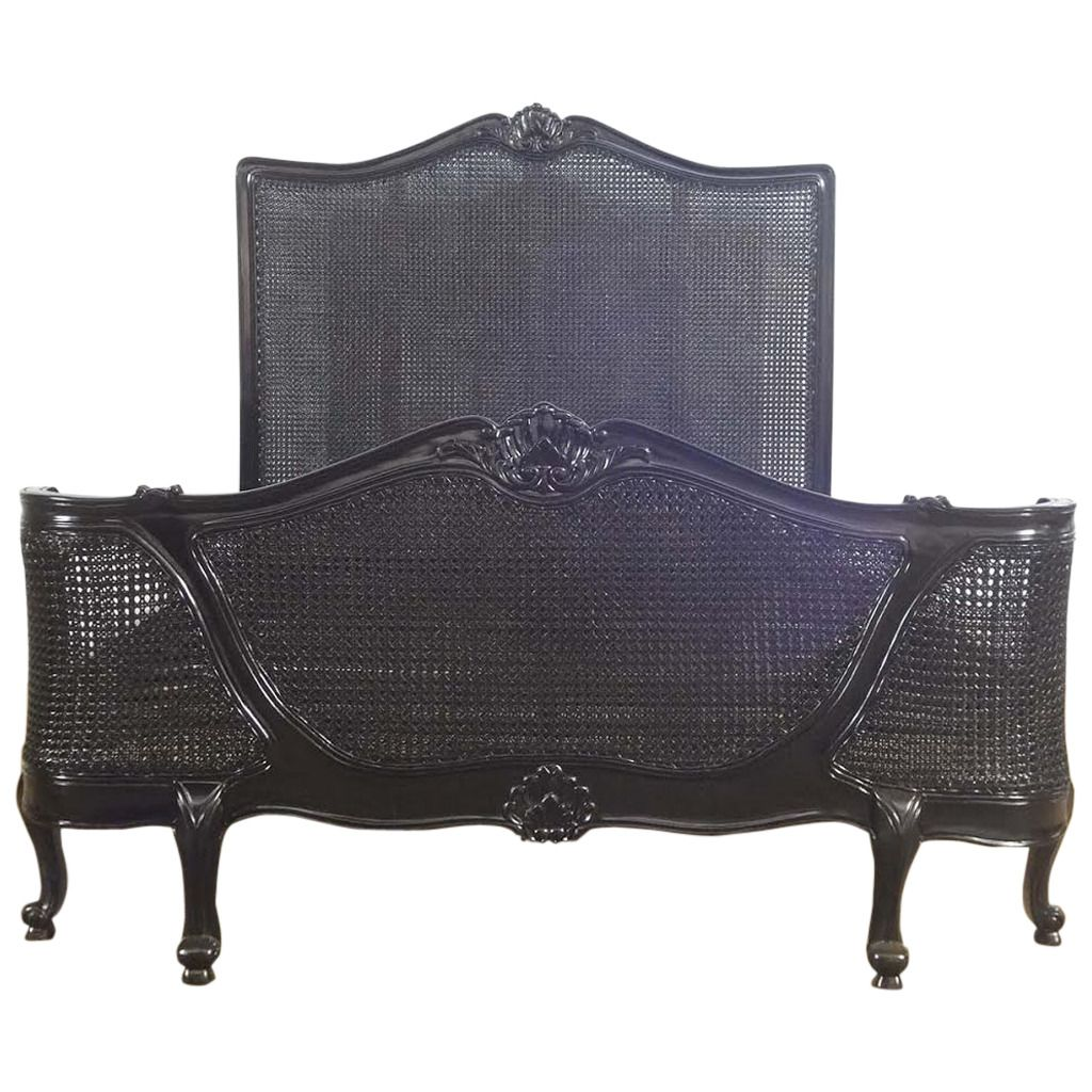 Best French Louis Xv Farmhouse Style Cane Black Bed Queen Size 400 x 300