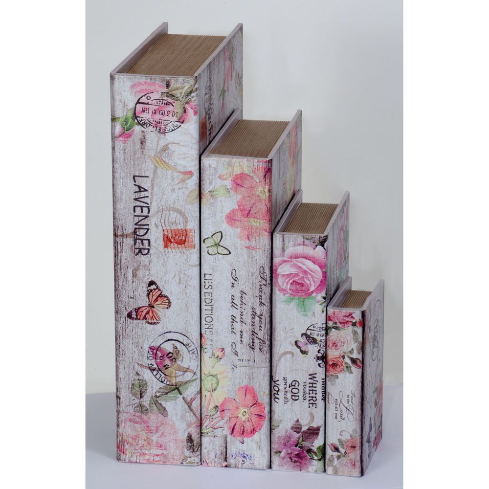 #Wooden #Book #Boxes #Lavender #Storage #Box #Secret #Books #Lined #Printed #Canvas #Clasp