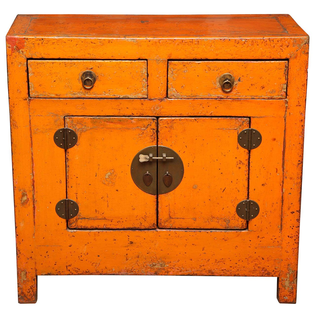 Lovely Antique Chinese Side Cabinet With Distressed Orange Lacquer