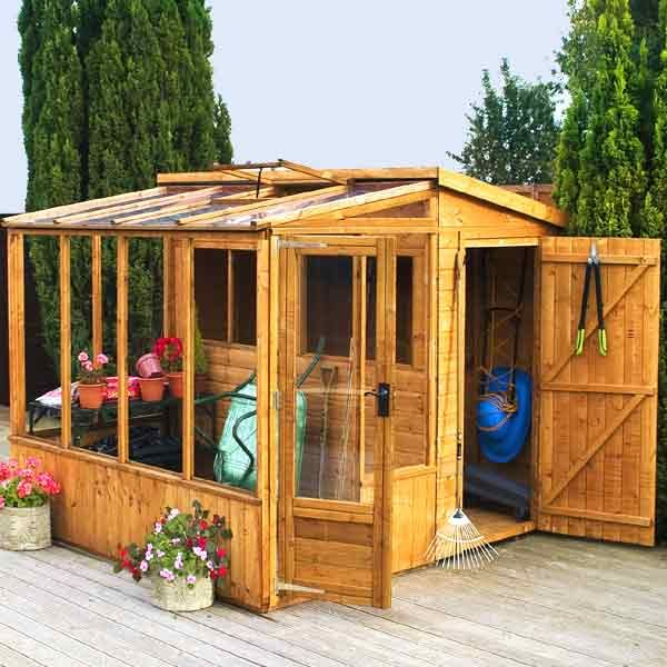 Garden Sheds Quick Delivery mercia fsc combi greenhouse 8 x 8ft on sale | fast delivery