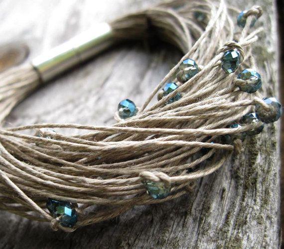 Sparkling Glass Linen Bracelet Elegant Teal Gray Green Blue Magnetic Clasp Glitter Fiber Multistrand Beadwork Eco Friendly Cottage Chic