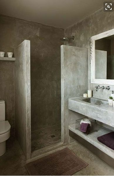 Pin by Stay At Home on BANHEIRO   Concrete bathroom ...