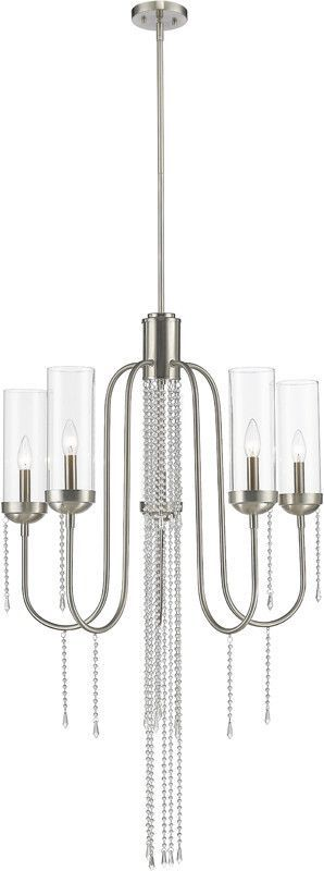 Z-Lite 433-5BN 5 Light Chandelier Siena Collection Clear Finish