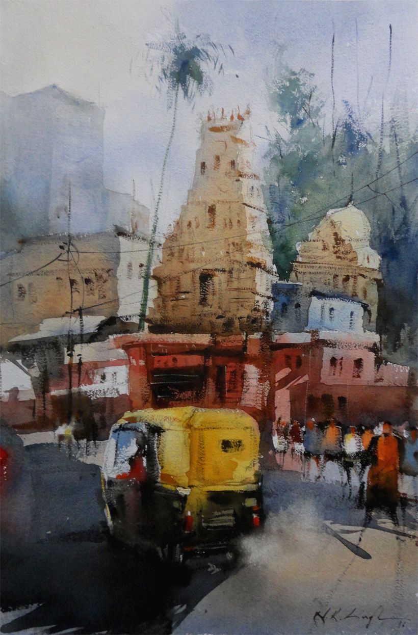 South Indian Temple Watercolor Medium Indian Art Paintings