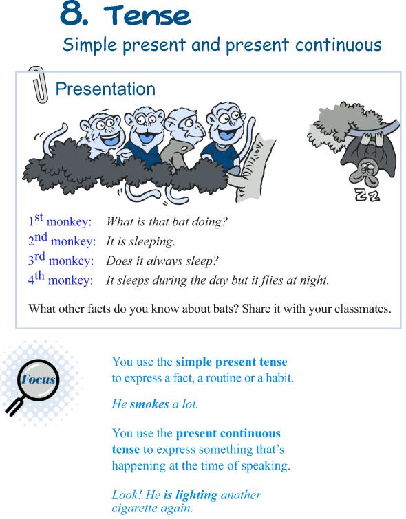 Grade 5 Grammar Lesson 8 Tense simple present and present