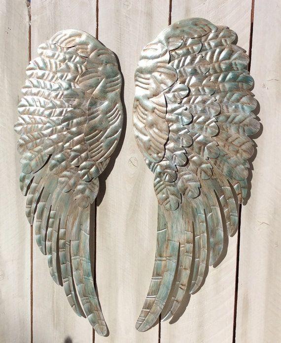 Large Metal Angel Wings Wall Decor Rustic By Lilhoneyspe 129 95