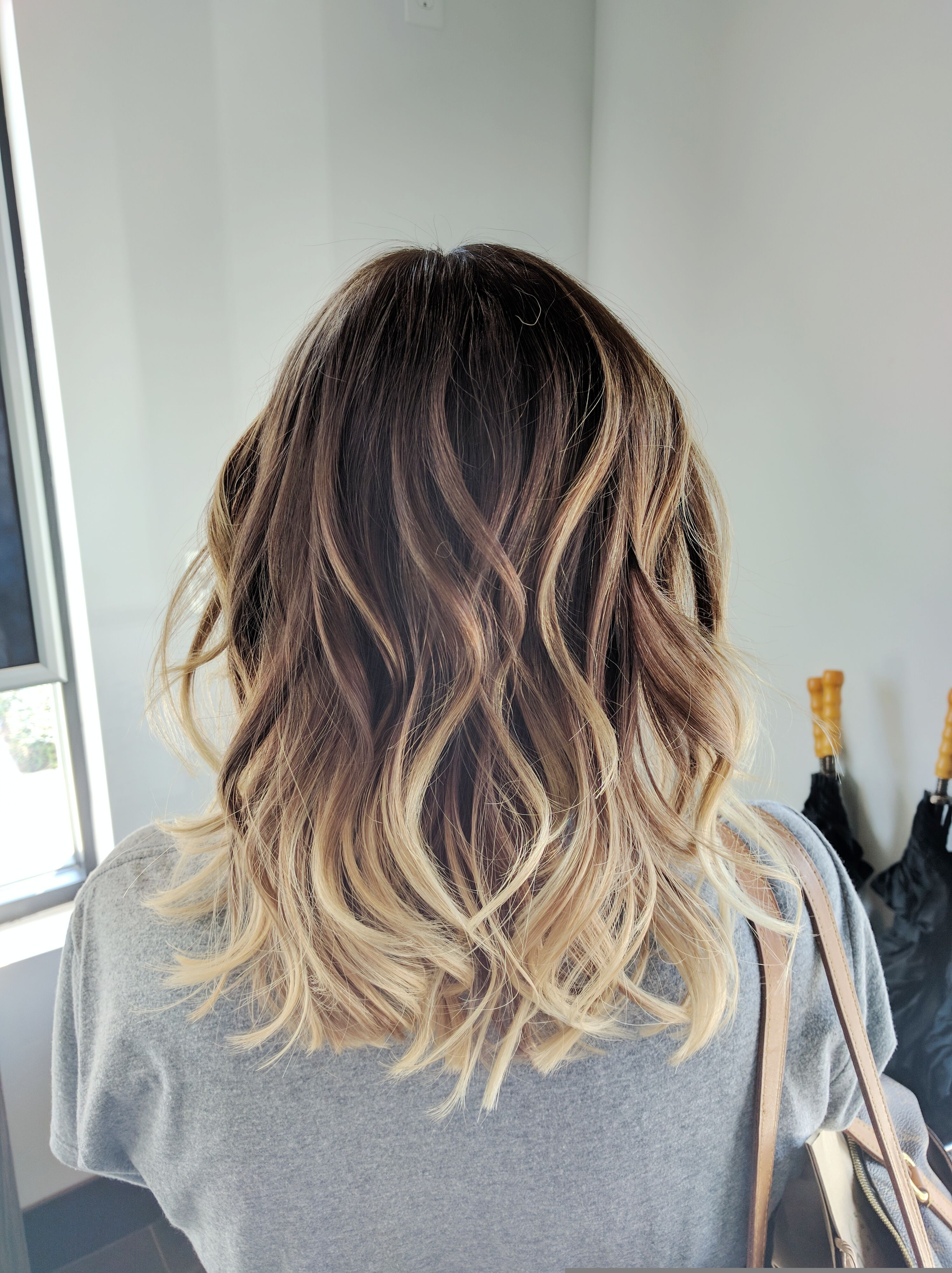 Ombre balayage color melt blonde highlights long bob medium length