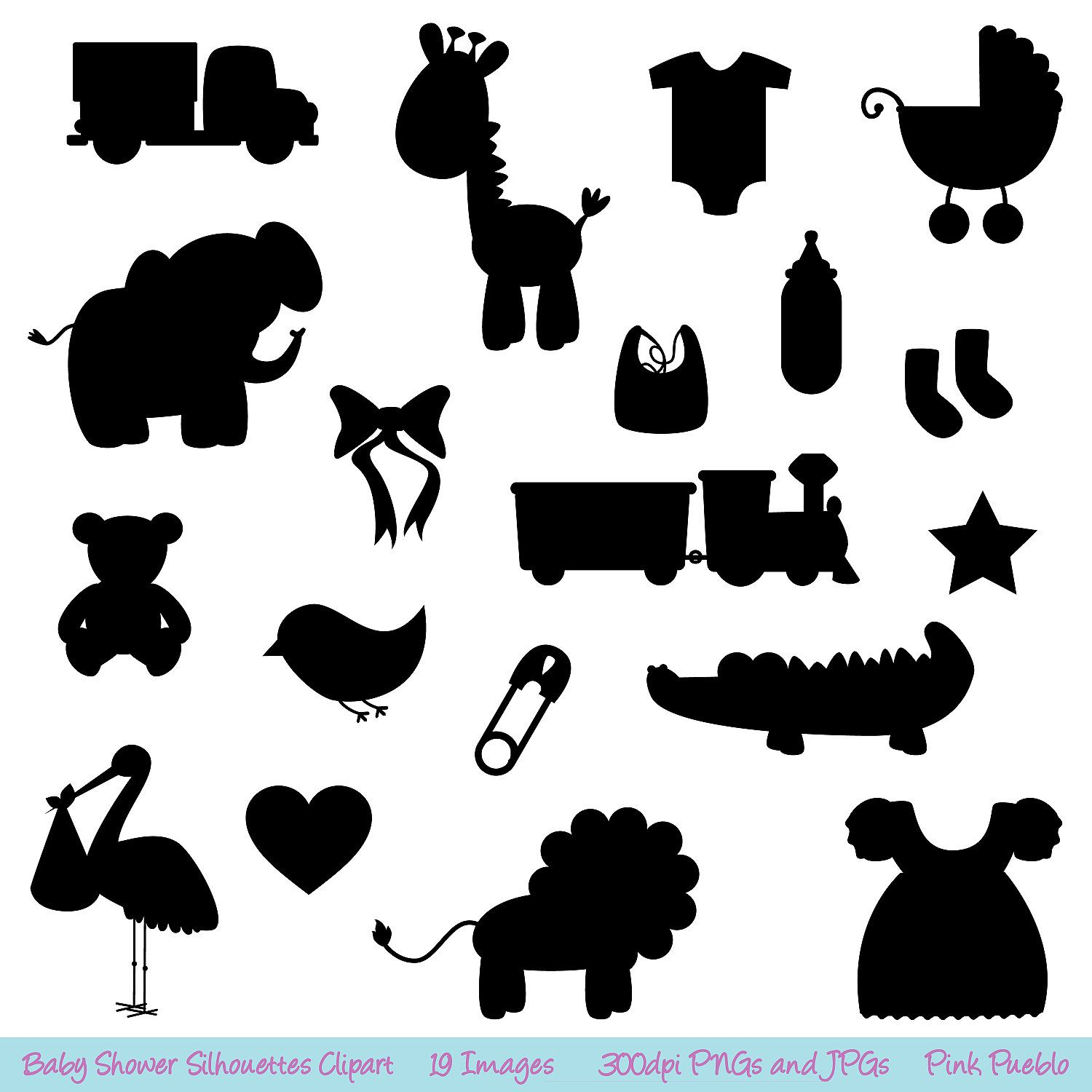 Baby Shower Silhouettes Clipart Clip Art   Commercial And Personal Use
