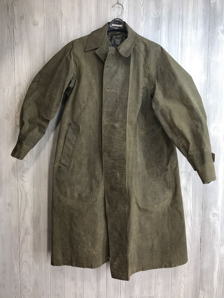583a82d37c8a VTG WWII 1940 s Military Raincoat OD Dismounted 1945 M Army Medium Resin  Coated