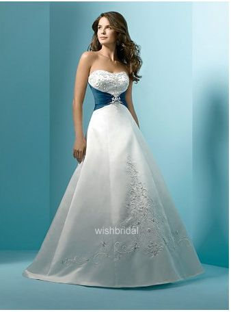 Non Traditional Color Wedding Dress in Green Waist and Beading ...