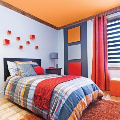 Chambre garçon - Inspirations - Géométrie - Orange - Rouge - Bleu ...