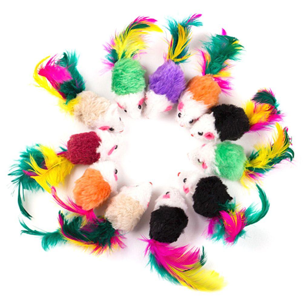 10 개 거짓 마우스 애완 동물 고양이 장난감 미니 놀이 장난감 화려한 깃털 애완 동물 고양이 깃털 마우스 장난감