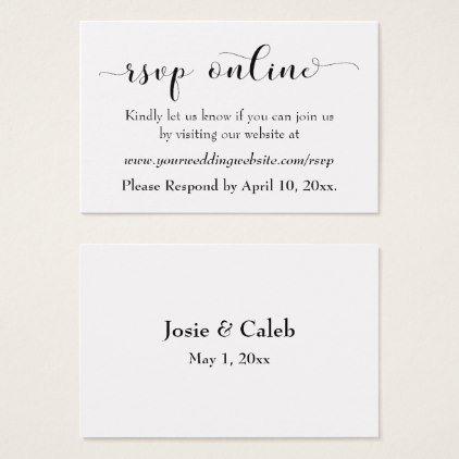 Wedding RSVP Online Insert Black Script, White, 12 Wedding rsvp